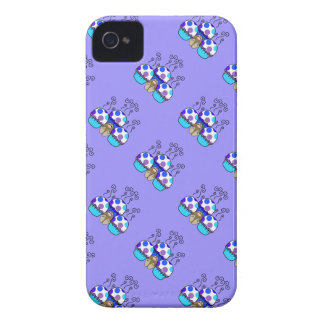 Cute Monster With Blue & Purple Polkadot Cupcakes Case-Mate iPhone 4 Case