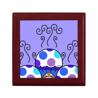 Cute Monster With Blue & Purple Polkadot Cupcakes Keepsake Boxes