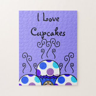 Cute Monster With Blue & Purple Polkadot Cupcakes Jigsaw Puzzle