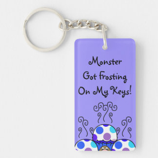 Cute Monster With Blue & Purple Polkadot Cupcakes Rectangle Acrylic Keychains
