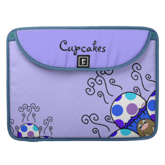 Cute Monster With Blue & Purple Polkadot Cupcakes Sleeves For MacBooks