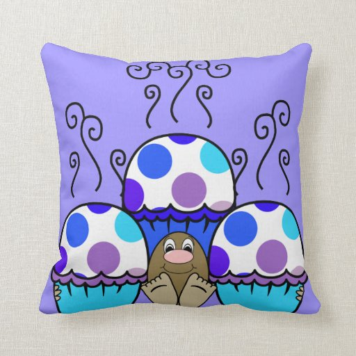 Cute Monster Pillow : Cute Monster With Blue & Purple Polkadot Cupcakes Pillow Zazzle