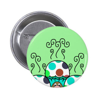 Cute Monster With Cyan And Blue Polkadot Cupcakes Buttons