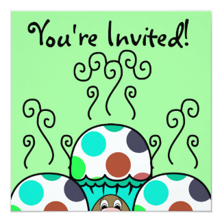 Cute Monster With Cyan And Blue Polkadot Cupcakes Card