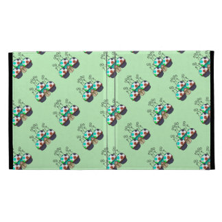 Cute Monster With Cyan And Blue Polkadot Cupcakes iPad Folio Case