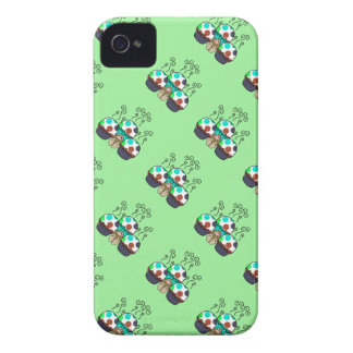 Cute Monster With Cyan And Blue Polkadot Cupcakes Case-Mate iPhone 4 Case