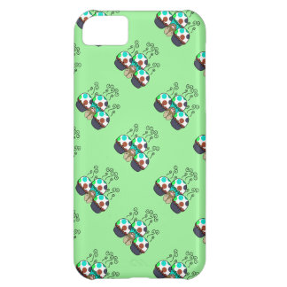 Cute Monster With Cyan And Blue Polkadot Cupcakes Cover For iPhone 5C