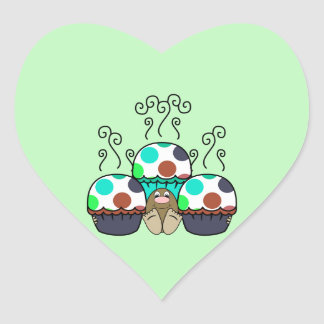 Cute Monster With Cyan And Blue Polkadot Cupcakes Heart Sticker