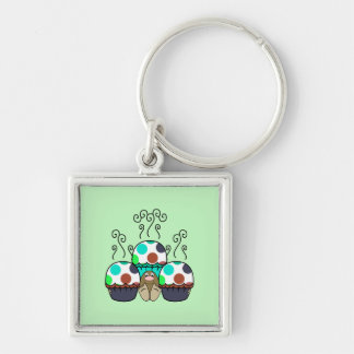 Cute Monster With Cyan And Blue Polkadot Cupcakes Key Chains