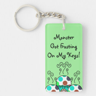 Cute Monster With Cyan And Blue Polkadot Cupcakes Acrylic Keychains