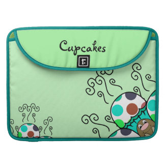 Cute Monster With Cyan And Blue Polkadot Cupcakes Sleeves For MacBooks