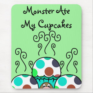 Cute Monster With Cyan And Blue Polkadot Cupcakes Mouse Pad