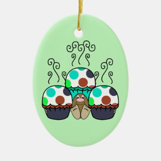 Cute Monster With Cyan And Blue Polkadot Cupcakes Christmas Ornaments