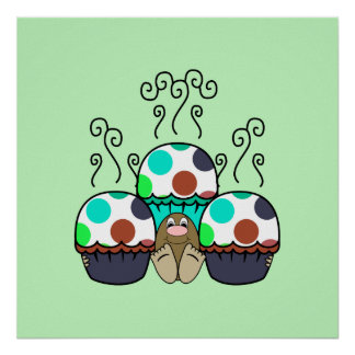 Cute Monster With Cyan And Blue Polkadot Cupcakes Poster