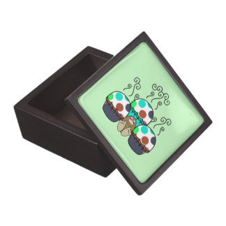 Cute Monster With Cyan And Blue Polkadot Cupcakes Premium Jewelry Box