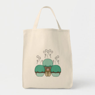 Cute Monster With Cyan And Orange Frosted Cupcakes Tote Bag