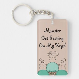 Cute Monster With Cyan And Orange Frosted Cupcakes Rectangular Acrylic Key Chains