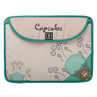 Cute Monster With Cyan And Orange Frosted Cupcakes Sleeve For MacBook Pro