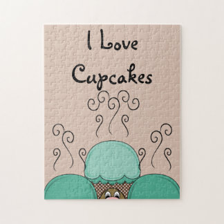 Cute Monster With Cyan And Orange Frosted Cupcakes Puzzles