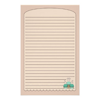 Cute Monster With Cyan And Orange Frosted Cupcakes Stationery