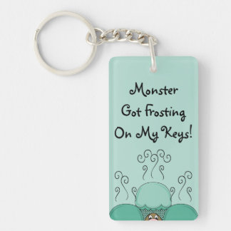 Cute Monster With Cyan Frosted Cupcakes Rectangle Acrylic Keychain