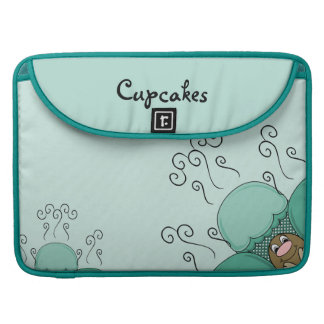 Cute Monster With Cyan Frosted Cupcakes MacBook Pro Sleeve