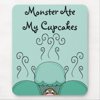 Cute Monster With Cyan Frosted Cupcakes Mouse Pad