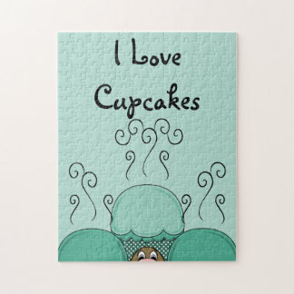 Cute Monster With Cyan Frosted Cupcakes Puzzle