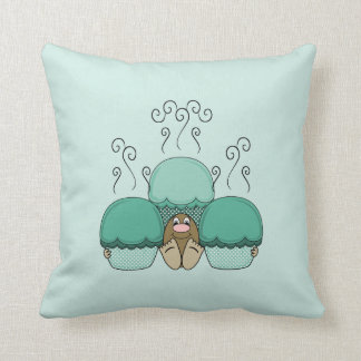 Cute Monster With Cyan Frosted Cupcakes Throw Pillow