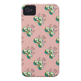 Cute Monster With Green & Brown Polkadot Cupcakes iPhone 4 Case