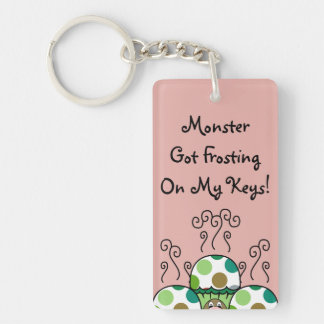 Cute Monster With Green & Brown Polkadot Cupcakes Acrylic Keychain