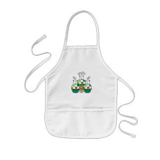 Cute Monster With Green & Brown Polkadot Cupcakes Kids' Apron