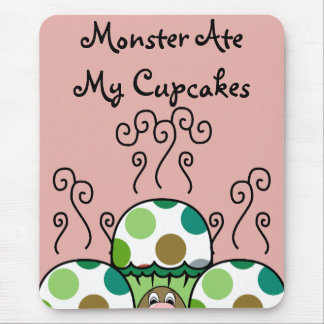 Cute Monster With Green & Brown Polkadot Cupcakes Mouse Pad
