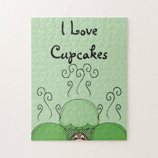 Cute Monster With Green Frosted Cupcakes Puzzle