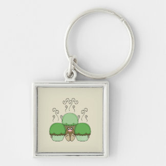 Cute Monster With Green & Yellow Frosted Cupcakes Keychains