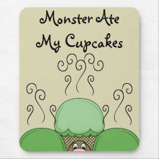 Cute Monster With Green & Yellow Frosted Cupcakes Mouse Pad
