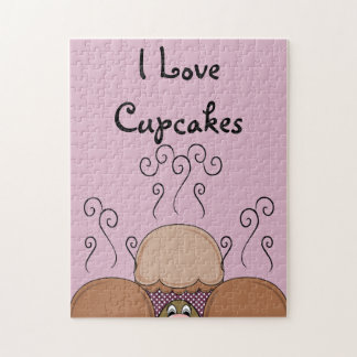 Cute Monster With Orange And Pink Frosted Cupcakes Jigsaw Puzzles