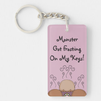 Cute Monster With Orange And Pink Frosted Cupcakes Acrylic Keychain