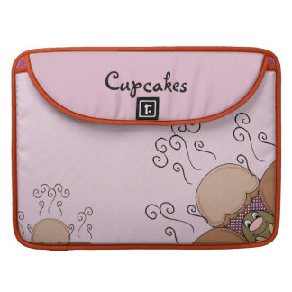 Cute Monster With Orange And Pink Frosted Cupcakes Sleeves For MacBooks