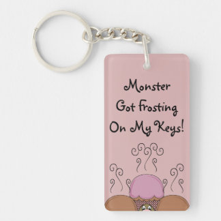 Cute Monster With Orange And Red Frosted Cupcakes Key Chain