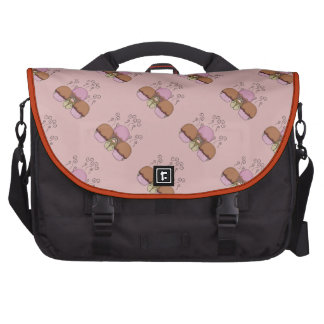 Cute Monster With Orange And Red Frosted Cupcakes Laptop Messenger Bag