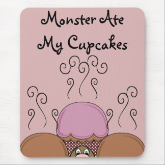 Cute Monster With Orange And Red Frosted Cupcakes Mouse Pad