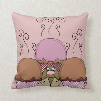 Cute Monster With Orange And Red Frosted Cupcakes Throw Pillow