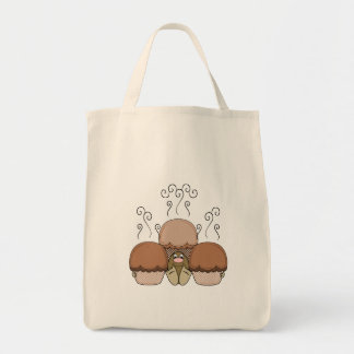 Cute Monster With Orange Frosted Cupcakes Canvas Bags