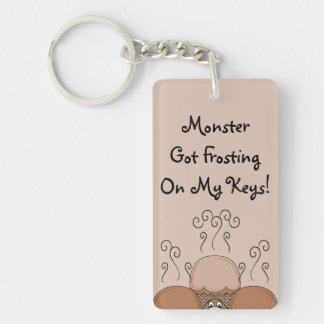 Cute Monster With Orange Frosted Cupcakes Key Chains