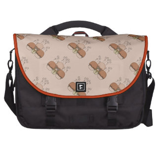 Cute Monster With Orange Frosted Cupcakes Laptop Messenger Bag