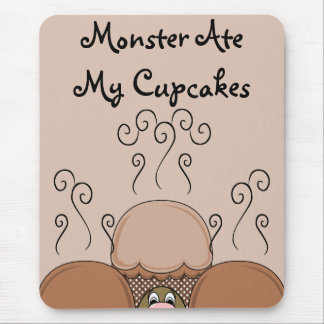 Cute Monster With Orange Frosted Cupcakes Mouse Pad