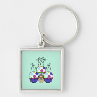 Cute Monster With Pink And Blue Polkadot Cupcakes Keychain