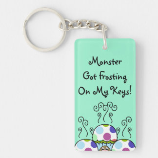 Cute Monster With Pink And Blue Polkadot Cupcakes Acrylic Keychains