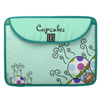 Cute Monster With Pink And Blue Polkadot Cupcakes Sleeves For MacBook Pro